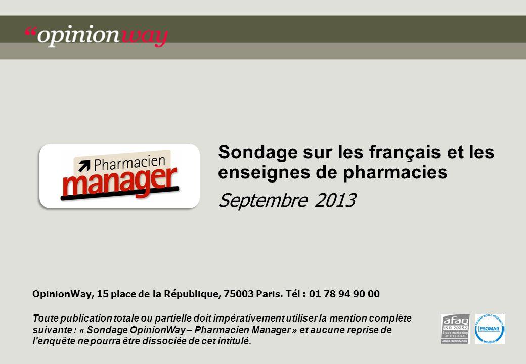 Sondage sur les français et les enseignes de pharmacies Septembre 2013 OpinionWay, 15 place de la République, 75003 Paris.