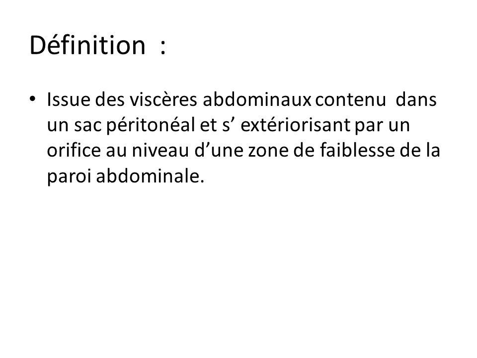 Définition : Issue des viscères abdominaux contenu dans un sac péritonéal et s extériorisant par un orifice au niveau dune zone de faiblesse de la par