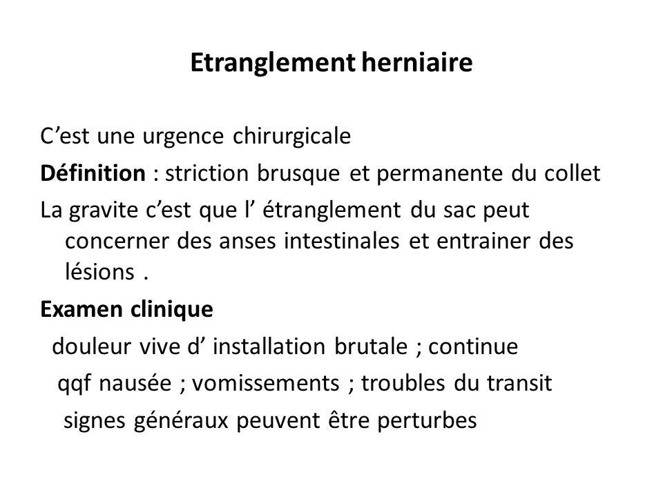 Etranglement herniaire Cest une urgence chirurgicale Définition : striction brusque et permanente du collet La gravite cest que l étranglement du sac