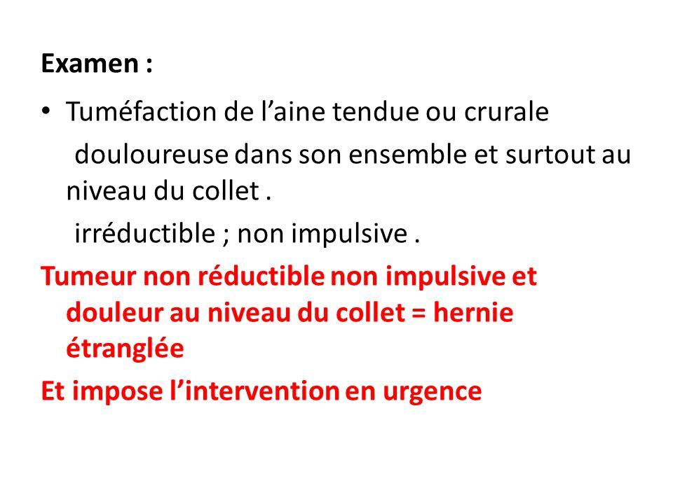 Examen : Tuméfaction de laine tendue ou crurale douloureuse dans son ensemble et surtout au niveau du collet. irréductible ; non impulsive. Tumeur non