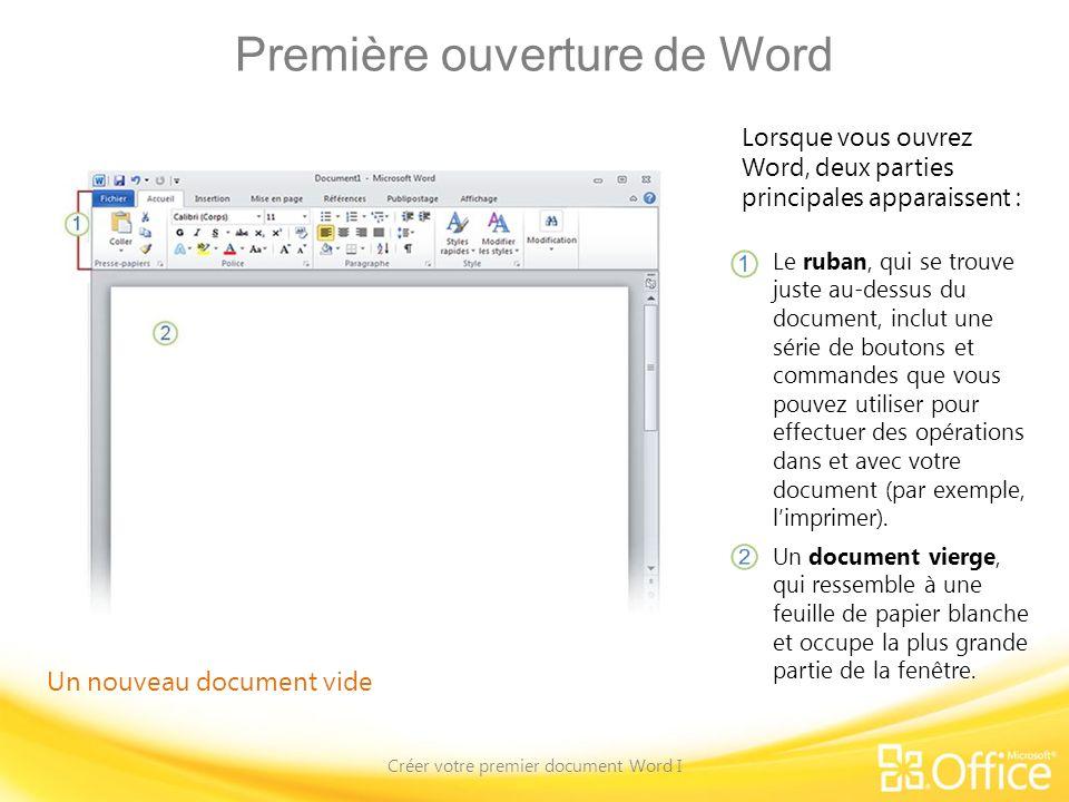 Test - Question 4 Créer votre premier document Word I Sélectionnez le texte au moyen du pointeur de la souris ou du clavier, puis appuyez sur Supprimer ou Ret.