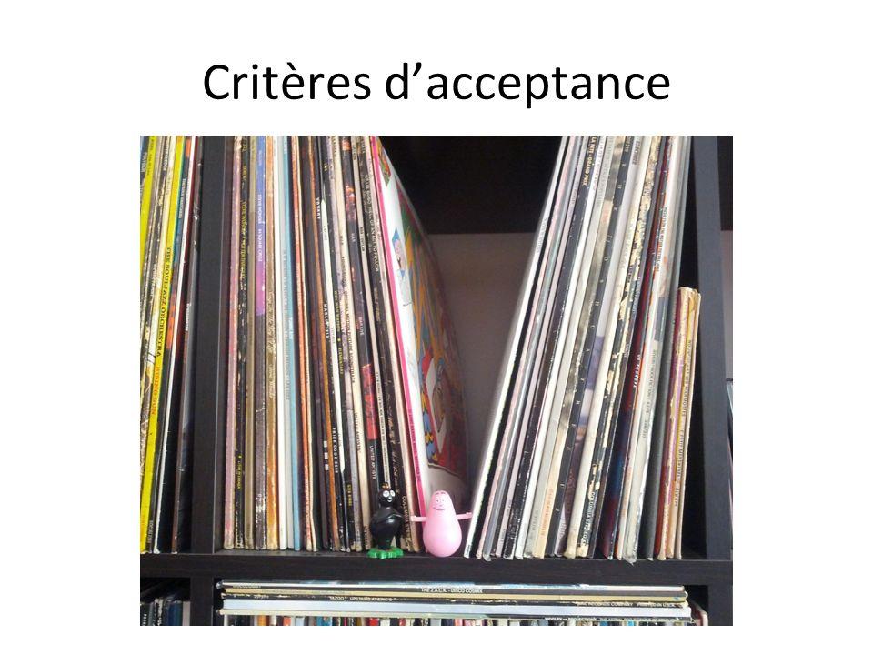 Critères dacceptance