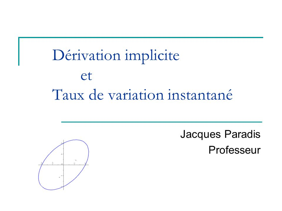 Département de mathématiques2 Plan de la rencontre Taux de variation instantané (exemple) Définition : équation implicite Exemples déquations implicites Dérivées de base Technique de dérivation implicite Exemples de dérivation implicite