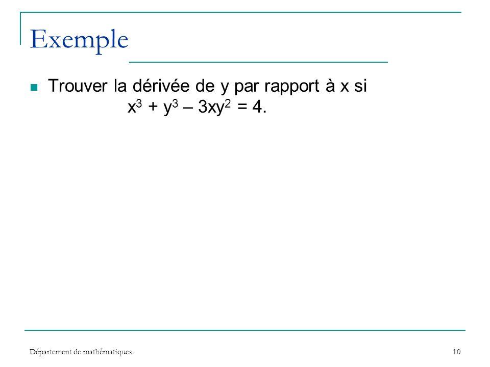 Département de mathématiques10 Exemple Trouver la dérivée de y par rapport à x si x 3 + y 3 – 3xy 2 = 4.