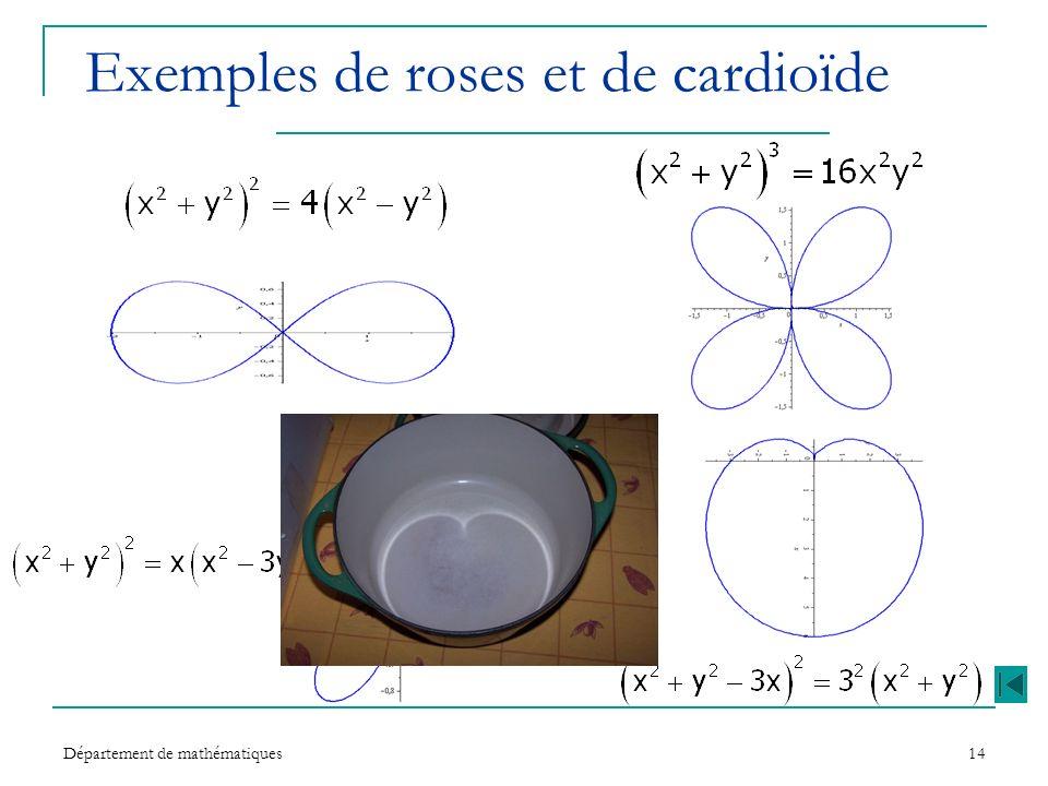 Département de mathématiques14 Exemples de roses et de cardioïde