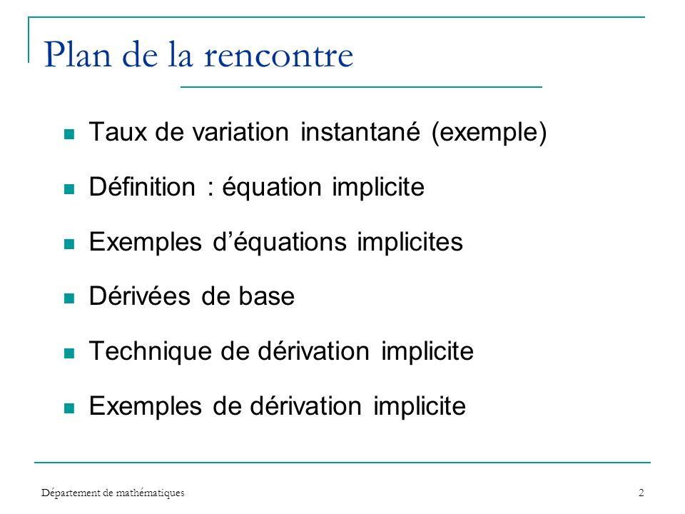 Département de mathématiques2 Plan de la rencontre Taux de variation instantané (exemple) Définition : équation implicite Exemples déquations implicit
