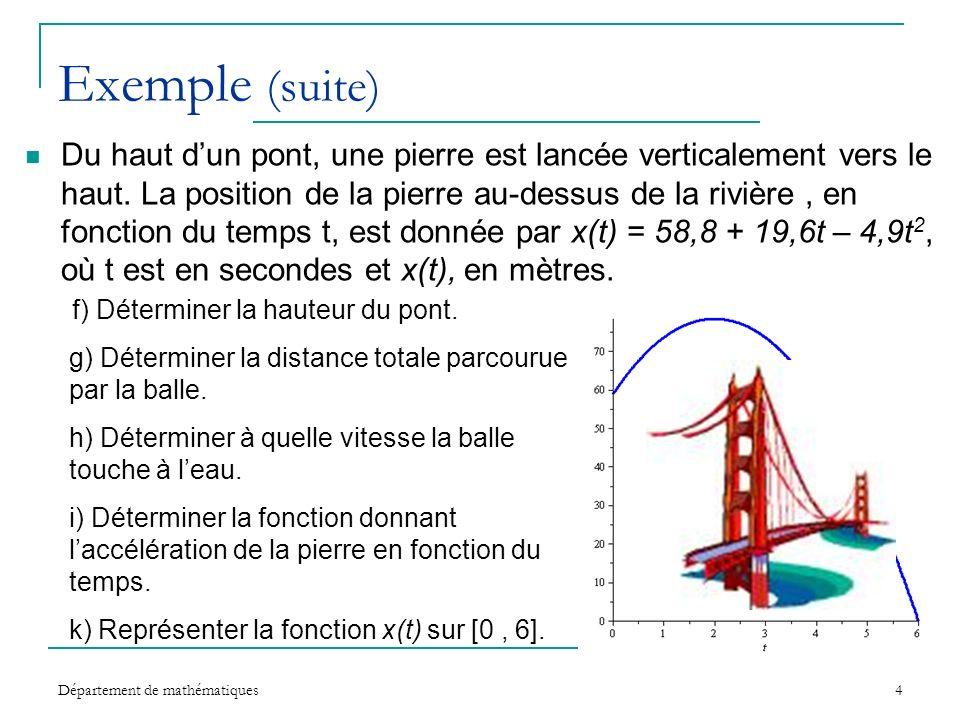 Département de mathématiques4 Exemple (suite) Du haut dun pont, une pierre est lancée verticalement vers le haut. La position de la pierre au-dessus d