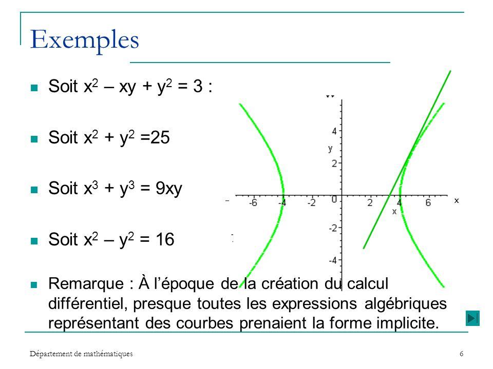 Département de mathématiques6 Exemples Soit x 2 – xy + y 2 = 3 : Soit x 2 + y 2 =25 Soit x 3 + y 3 = 9xy Soit x 2 – y 2 = 16 Remarque : À lépoque de l