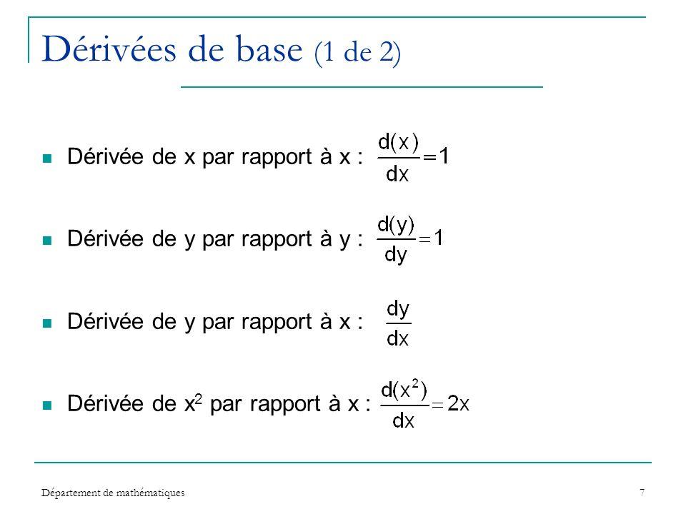 Département de mathématiques7 Dérivées de base (1 de 2) Dérivée de x par rapport à x : Dérivée de y par rapport à y : Dérivée de y par rapport à x : D