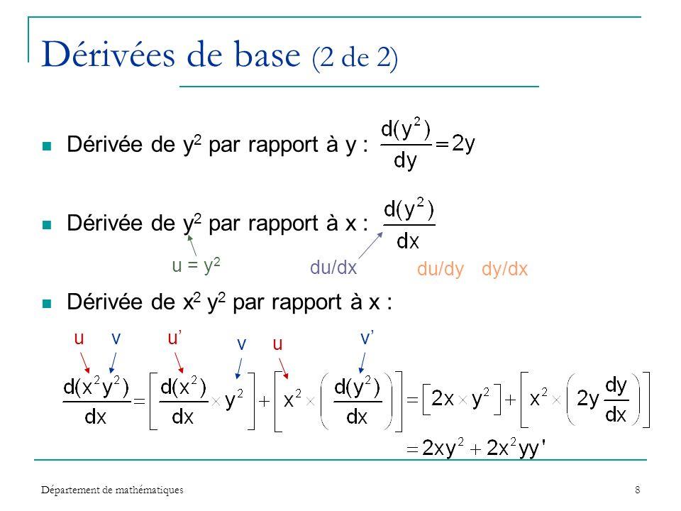 Département de mathématiques8 Dérivées de base (2 de 2) Dérivée de y 2 par rapport à y : Dérivée de y 2 par rapport à x : Dérivée de x 2 y 2 par rappo