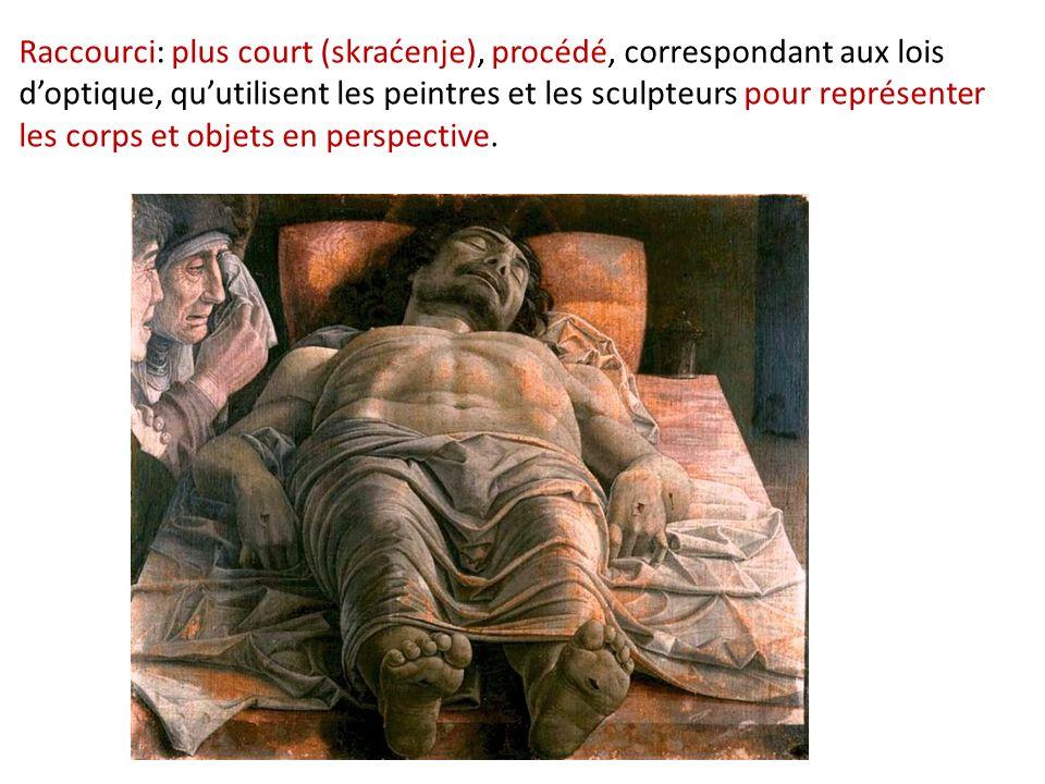 Raccourci: plus court (skraćenje), procédé, correspondant aux lois doptique, quutilisent les peintres et les sculpteurs pour représenter les corps et objets en perspective.