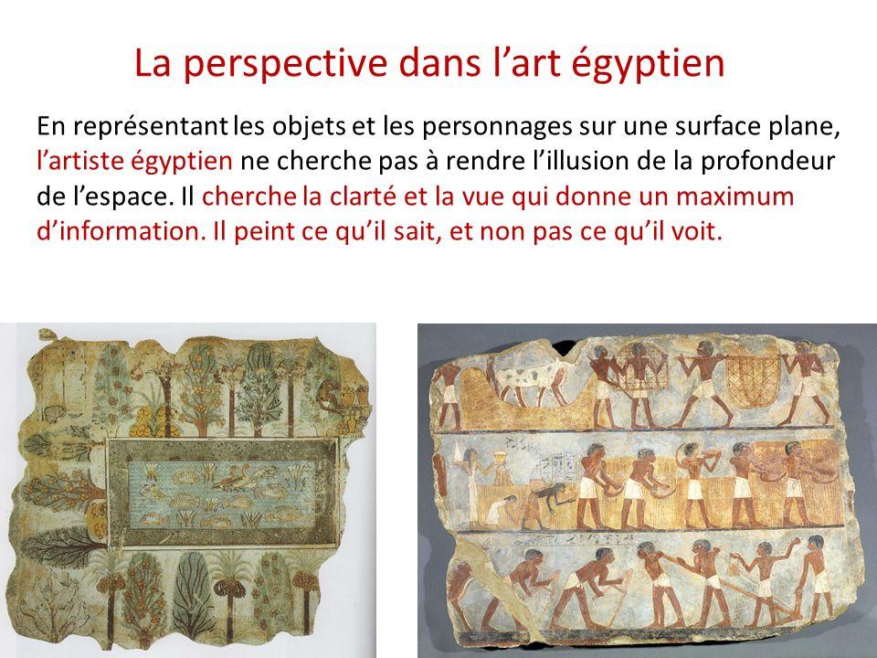 La perspective dans lart égyptien En représentant les objets et les personnages sur une surface plane, lartiste égyptien ne cherche pas à rendre lillusion de la profondeur de lespace.
