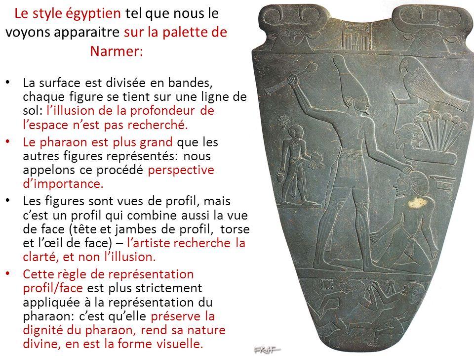 Le style égyptien tel que nous le voyons apparaitre sur la palette de Narmer: La surface est divisée en bandes, chaque figure se tient sur une ligne de sol: lillusion de la profondeur de lespace nest pas recherché.