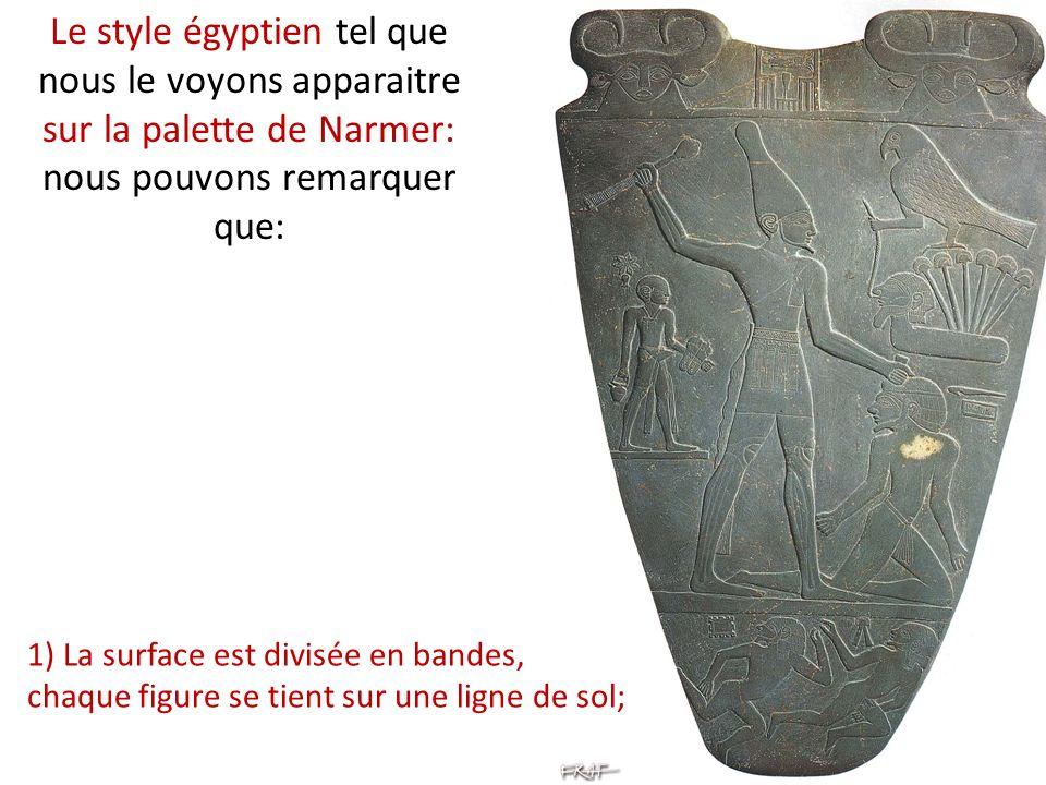 Le style égyptien tel que nous le voyons apparaitre sur la palette de Narmer: nous pouvons remarquer que: 1) La surface est divisée en bandes, chaque figure se tient sur une ligne de sol;