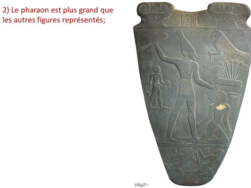 2) Le pharaon est plus grand que les autres figures représentés;