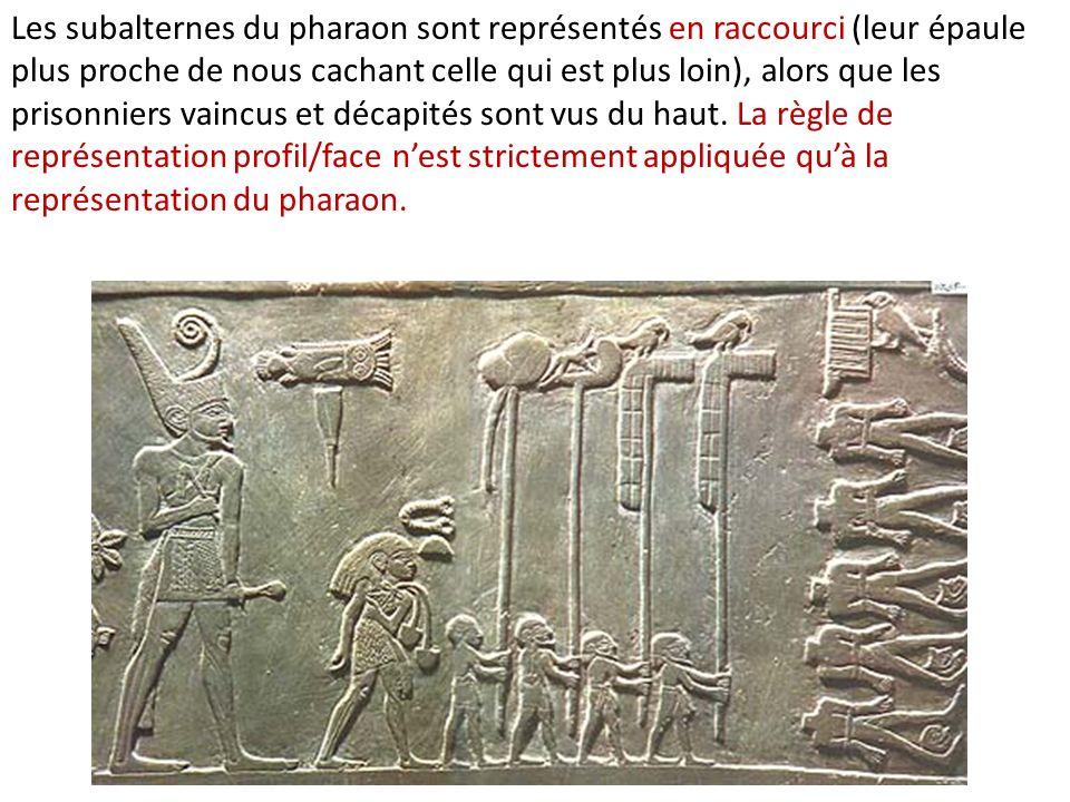 Les subalternes du pharaon sont représentés en raccourci (leur épaule plus proche de nous cachant celle qui est plus loin), alors que les prisonniers vaincus et décapités sont vus du haut.