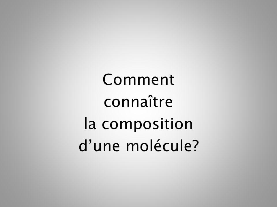 Comment connaître la composition dune molécule?