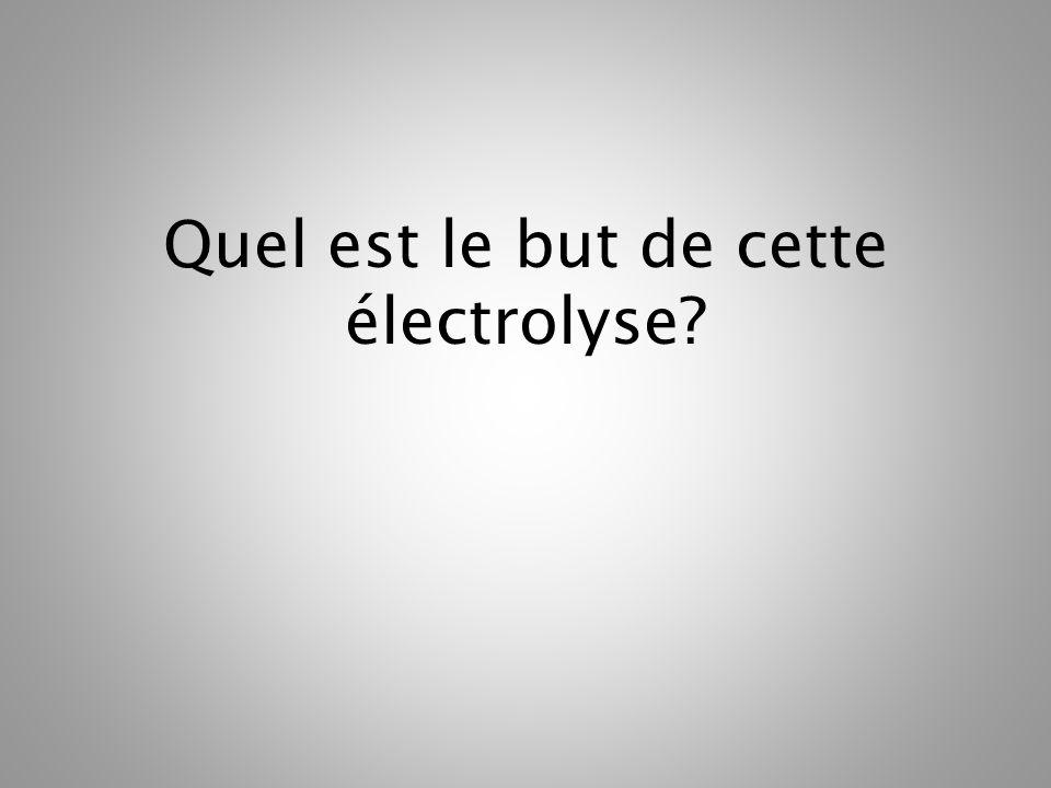 Quel est le but de cette électrolyse?
