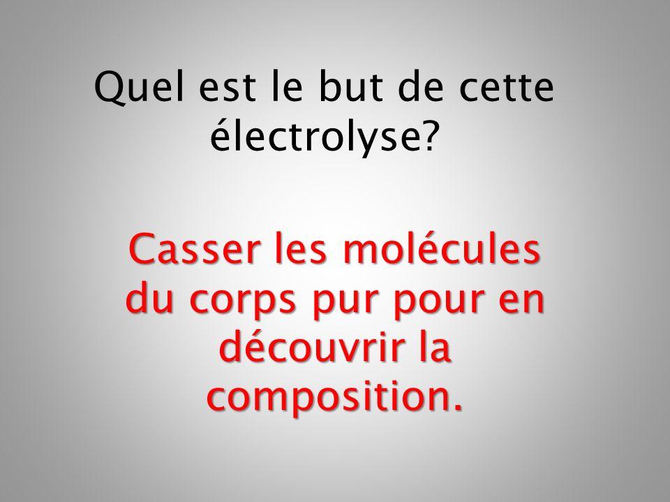 Casser les molécules du corps pur pour en découvrir la composition.