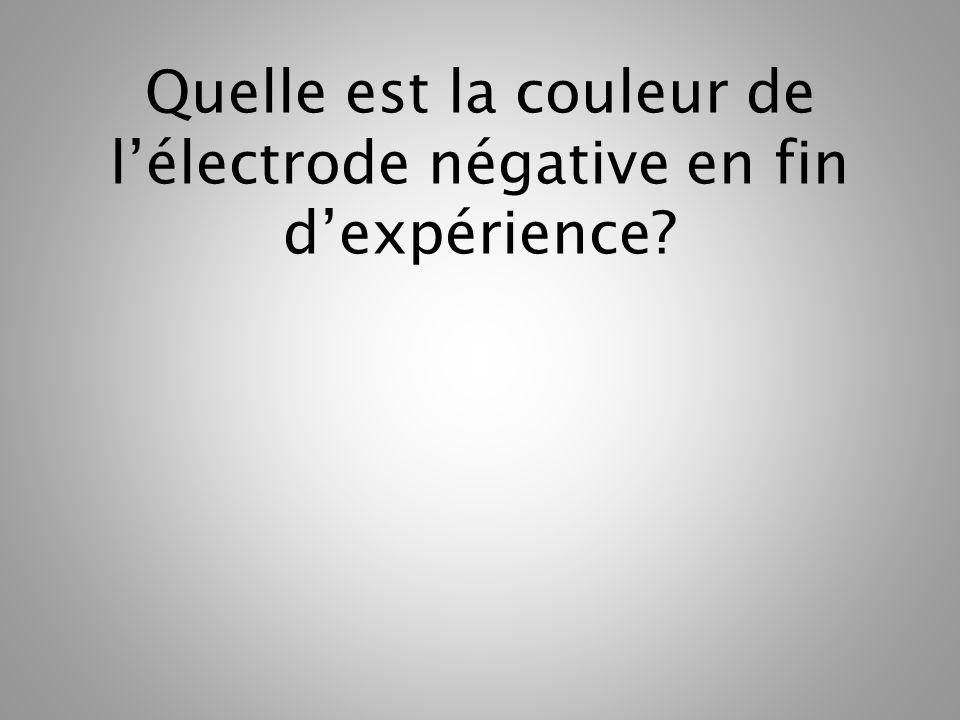 Quelle est la couleur de lélectrode négative en fin dexpérience?