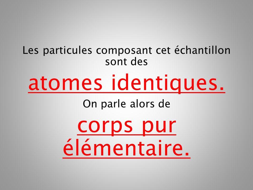 Les particules composant cet échantillon sont des atomes identiques. On parle alors de corps pur élémentaire.