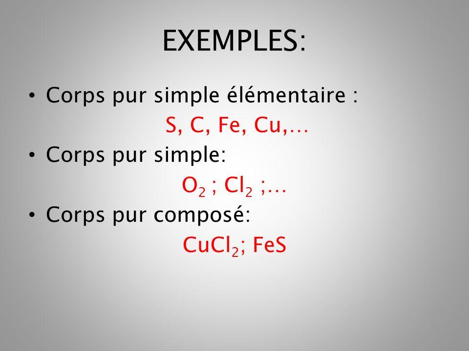 EXEMPLES: Corps pur simple élémentaire : S, C, Fe, Cu,… Corps pur simple: O 2 ; Cl 2 ;… Corps pur composé: CuCl 2 ; FeS