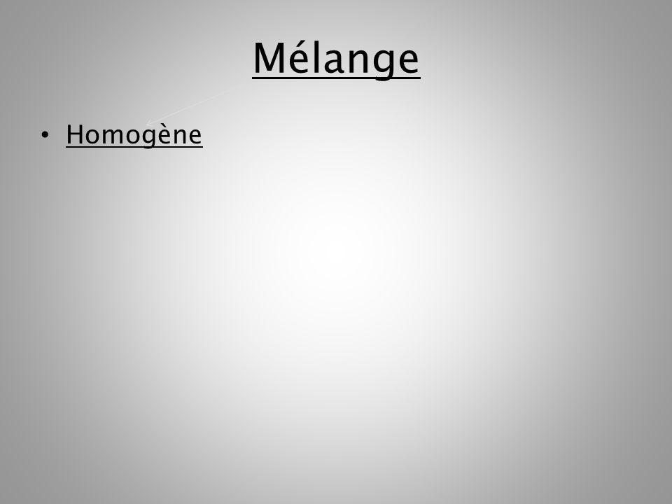 Mélange Homogène hétérogène