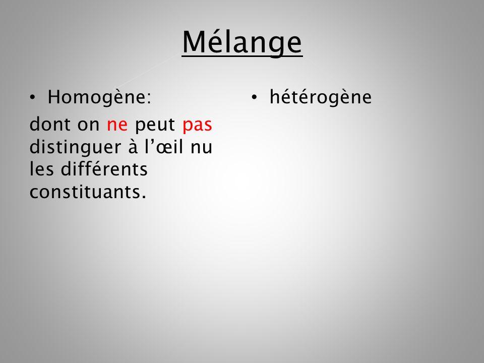 Mélange Homogène Homogène: dont on ne peut pas distinguer à lœil nu les différents constituants.