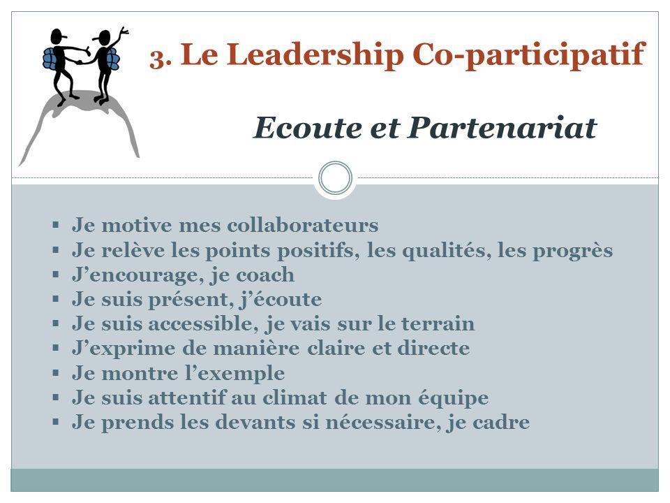3. Le Leadership Co-participatif Ecoute et Partenariat Je motive mes collaborateurs Je relève les points positifs, les qualités, les progrès Jencourag