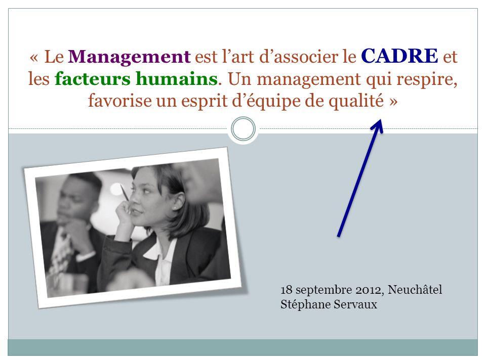 « Le Management est lart dassocier le CADRE et les facteurs humains.