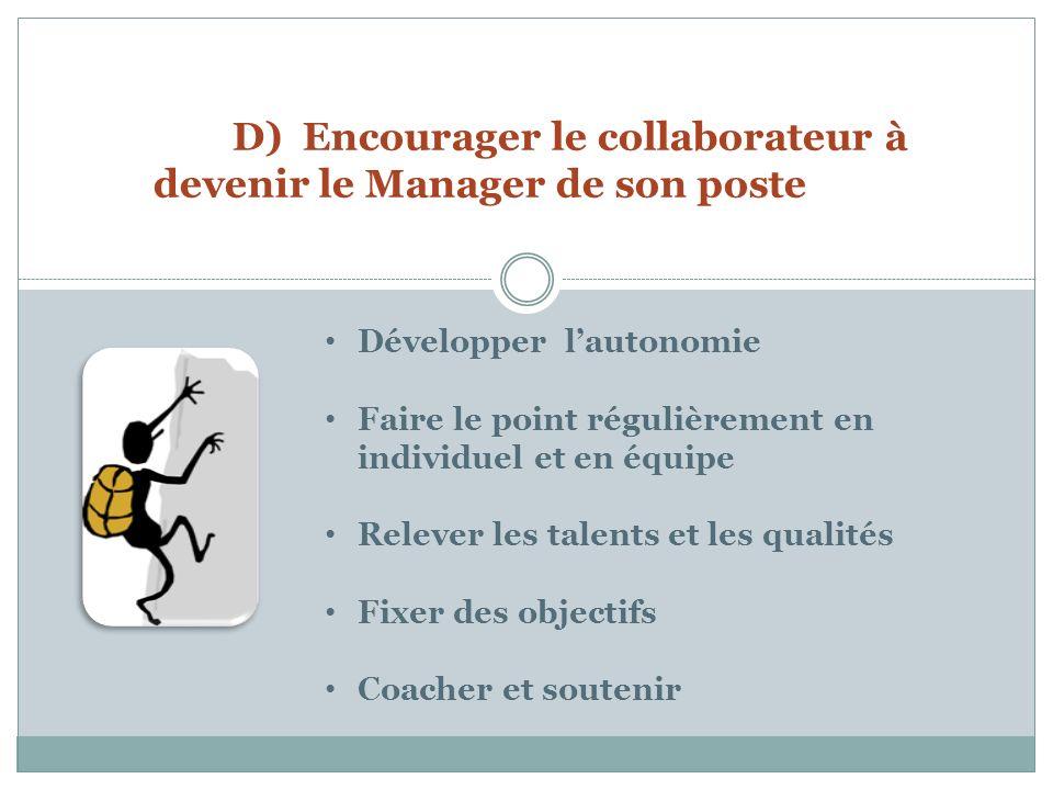 D) Encourager le collaborateur à devenir le Manager de son poste Développer lautonomie Faire le point régulièrement en individuel et en équipe Relever les talents et les qualités Fixer des objectifs Coacher et soutenir