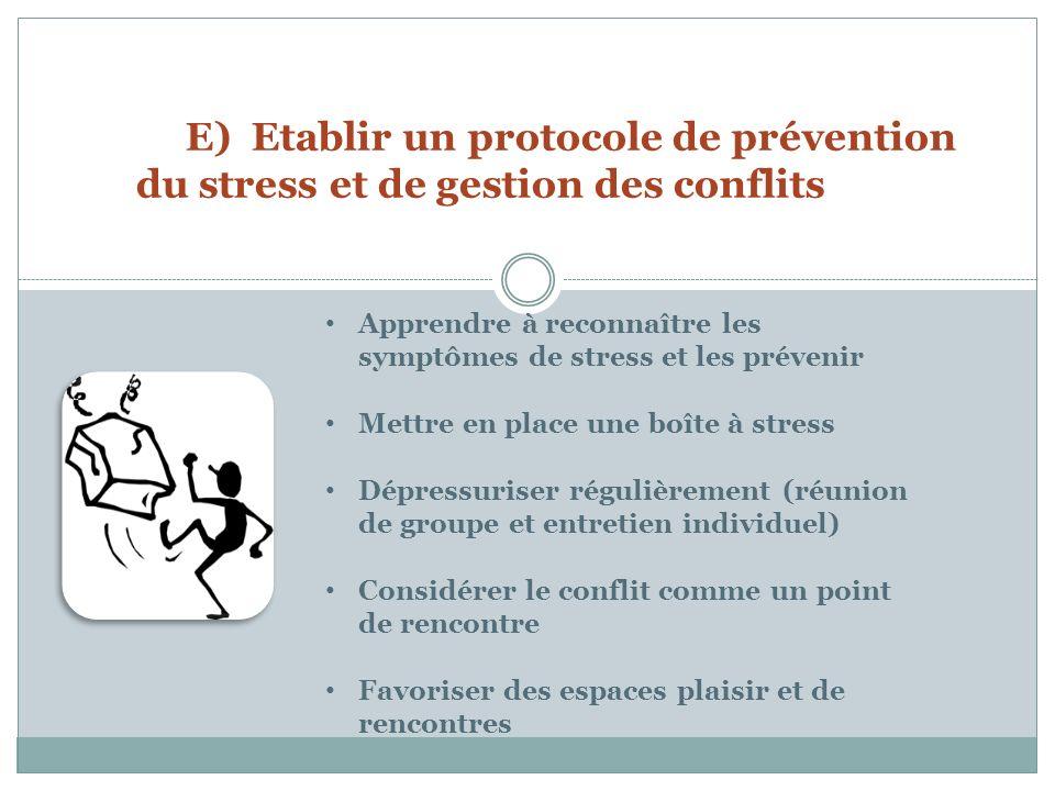 E) Etablir un protocole de prévention du stress et de gestion des conflits Apprendre à reconnaître les symptômes de stress et les prévenir Mettre en place une boîte à stress Dépressuriser régulièrement (réunion de groupe et entretien individuel) Considérer le conflit comme un point de rencontre Favoriser des espaces plaisir et de rencontres