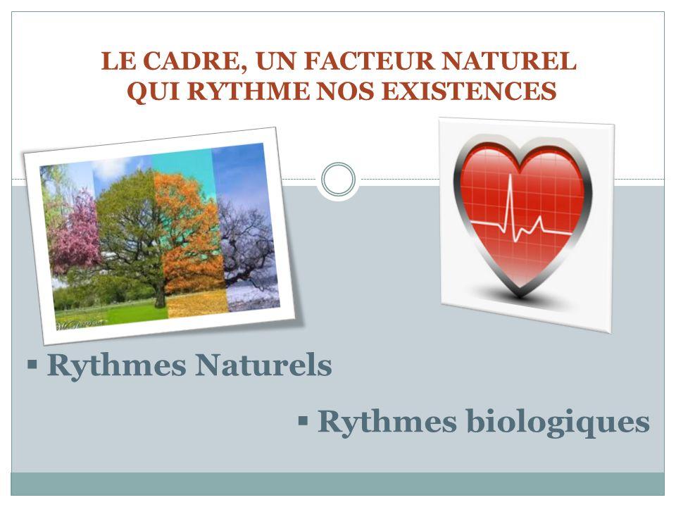 LE CADRE, UN FACTEUR NATUREL QUI RYTHME NOS EXISTENCES Rythmes Naturels Rythmes biologiques