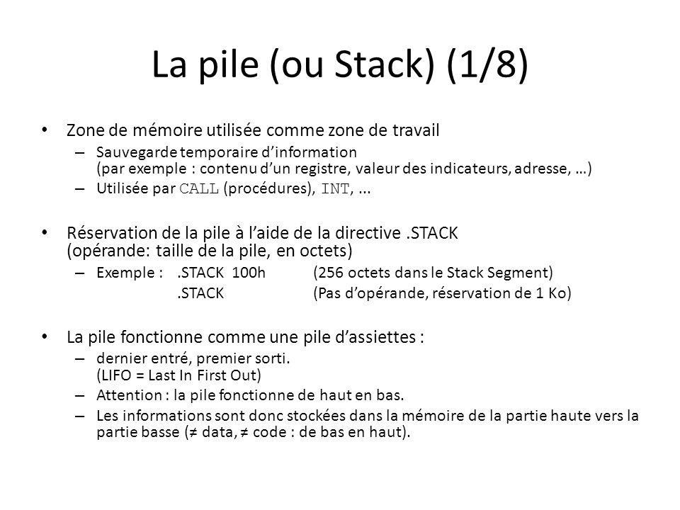 La pile (ou Stack) (1/8) Zone de mémoire utilisée comme zone de travail – Sauvegarde temporaire dinformation (par exemple : contenu dun registre, valeur des indicateurs, adresse, …) – Utilisée par CALL (procédures), INT,...