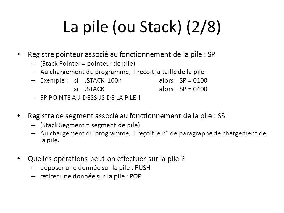 La pile (ou Stack) (3/8) Fonctionnement des instructions PUSH et POP Attention : Les mots déposés sur la pile doivent être retirés en sens inverse .