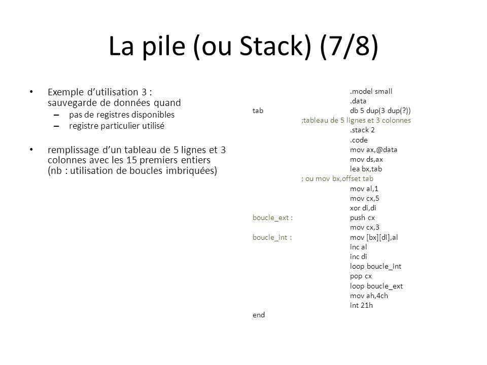 La pile (ou Stack) (7/8) Exemple dutilisation 3 : sauvegarde de données quand – pas de registres disponibles – registre particulier utilisé remplissage dun tableau de 5 lignes et 3 colonnes avec les 15 premiers entiers (nb : utilisation de boucles imbriquées).model small.data tabdb 5 dup(3 dup(?)) ;tableau de 5 lignes et 3 colonnes.stack 2.code mov ax,@data mov ds,ax lea bx,tab ; ou mov bx,offset tab mov al,1 mov cx,5 xor di,di boucle_ext :push cx mov cx,3 boucle_int :mov [bx][di],al inc al inc di loop boucle_int pop cx loop boucle_ext mov ah,4ch int 21h end