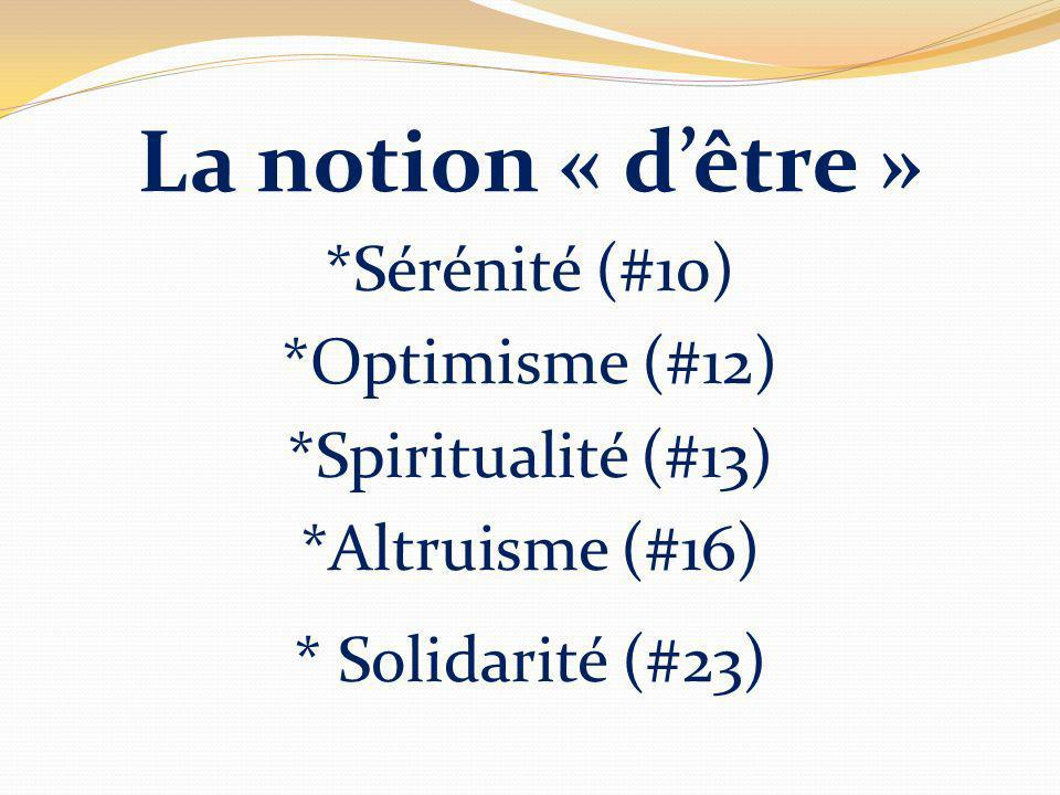 La notion « dêtre » *Sérénité (#10) *Optimisme (#12) *Spiritualité (#13) *Altruisme (#16) * Solidarité (#23)