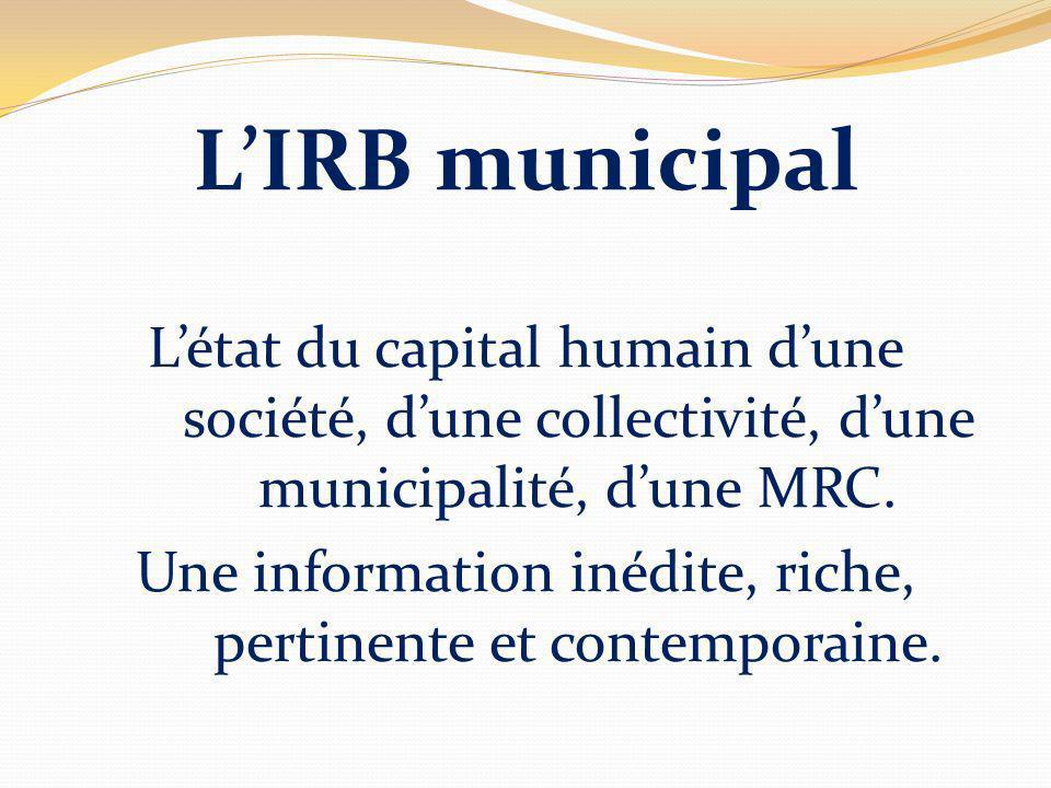 LIRB municipal Létat du capital humain dune société, dune collectivité, dune municipalité, dune MRC.