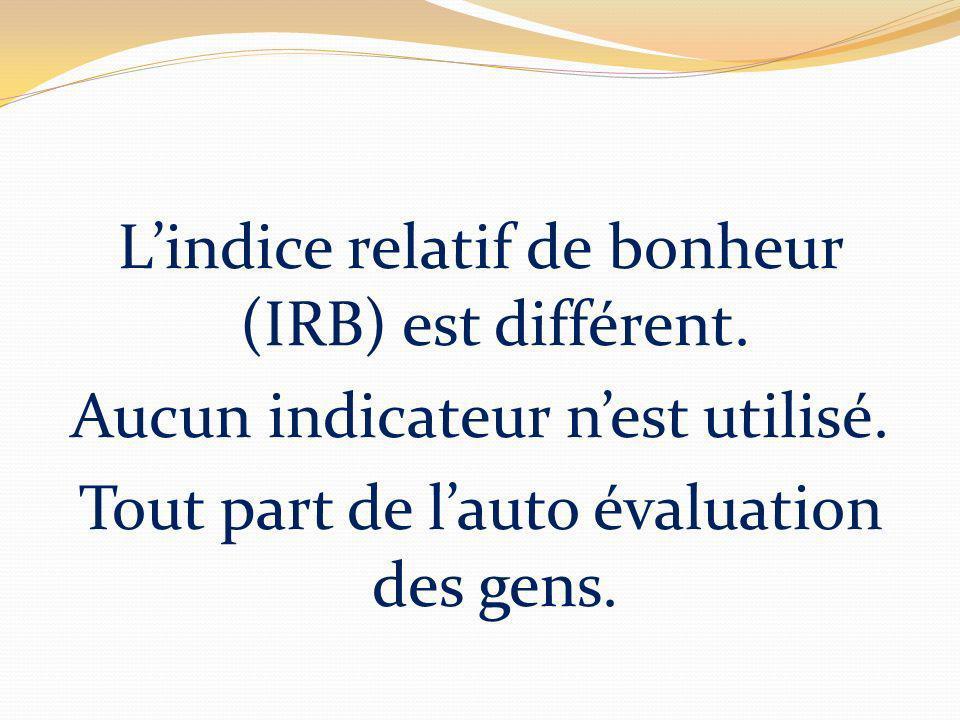 Lindice relatif de bonheur (IRB) est différent. Aucun indicateur nest utilisé. Tout part de lauto évaluation des gens.