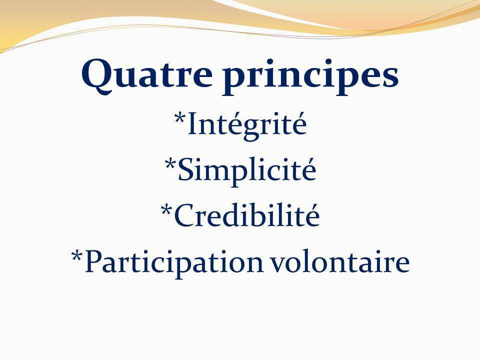 Quatre principes *Intégrité *Simplicité *Credibilité *Participation volontaire