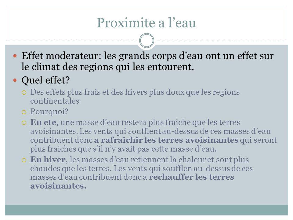 Proximite a leau Effet moderateur: les grands corps deau ont un effet sur le climat des regions qui les entourent.