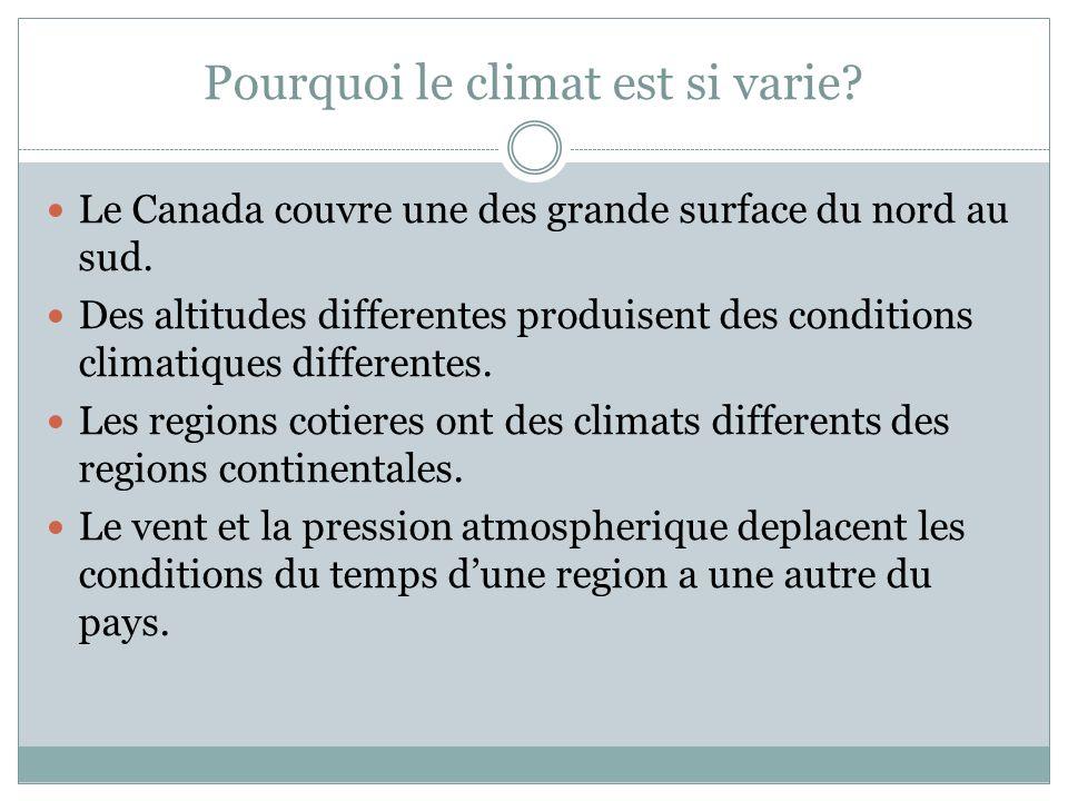 Pourquoi le climat est si varie.Le Canada couvre une des grande surface du nord au sud.