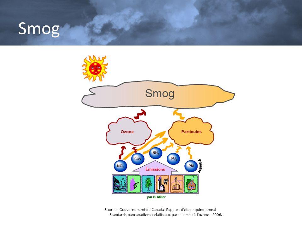 Source : Gouvernement du Canada, Rapport d'étape quinquennal Standards pancanadiens relatifs aux particules et à l'ozone - 2006. Smog