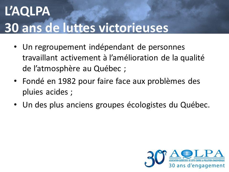 Un cheminement rempli de défis et de succès 1986- Présentation de leffet Shrapnel, une première mondiale 1988 - Les actions de lAQLPA dans le dossier des pluies acides conduisent à un traité de réduction de près de 50% des émissions doxydes de soufre dans lest du continent.