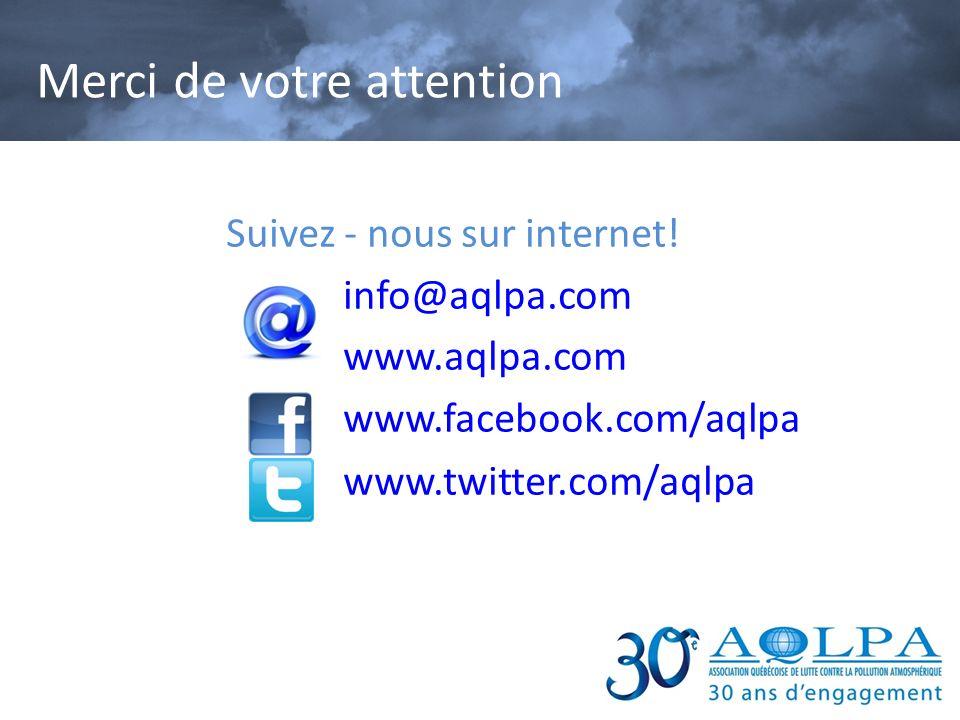 Suivez - nous sur internet! info@aqlpa.com www.aqlpa.com www.facebook.com/aqlpa www.twitter.com/aqlpa Merci de votre attention