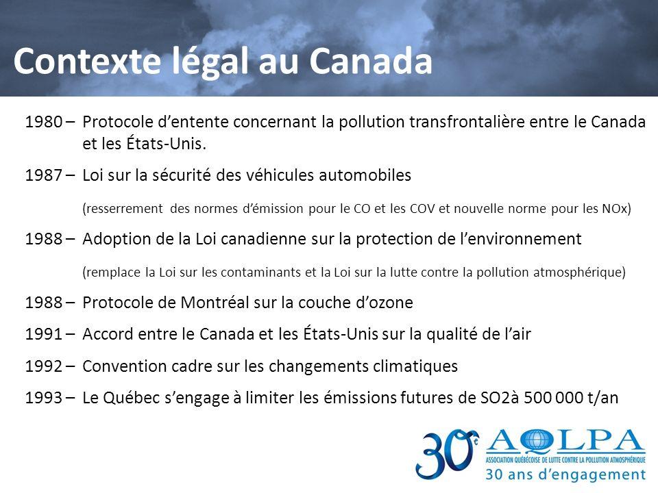 Contexte légal au Canada 1995 – Plan daction régional sur les polluants organiques persistants (POP) (Canada–États-Unis–Mexique) 1998 – Stratégie pancanadienne sur les émissions acidifiantes après lan 2000; limite de 300 000 t/an pour 2005 et de 250 000 t/an pour 2010 2000 –Annexe sur lozone de lAccord Canada –États-Unis sur la qualité de lair Standards pancanadiens relatifs aux particules (PM) et à lozone (Le Québec sengage à agir en cohérence à légard des standards pancanadiens relatifs aux fines particules et à lozone) w 2005 – Protocole de Kyoto par le Canada 2011 – Le Canada se retire du protocole de Kyoto 2012 – Les lois mammouth C-38 et C-45 limitent et affaiblissent la portée dun grand nombre de mesures de protection environnementale.