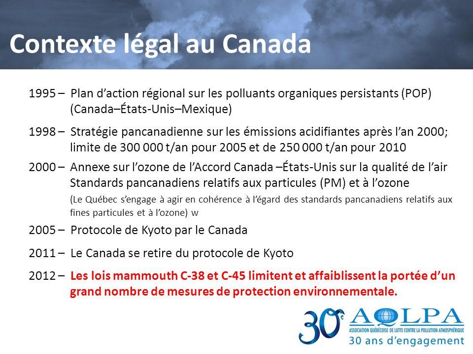 Contexte légal au Canada 1995 – Plan daction régional sur les polluants organiques persistants (POP) (Canada–États-Unis–Mexique) 1998 – Stratégie panc