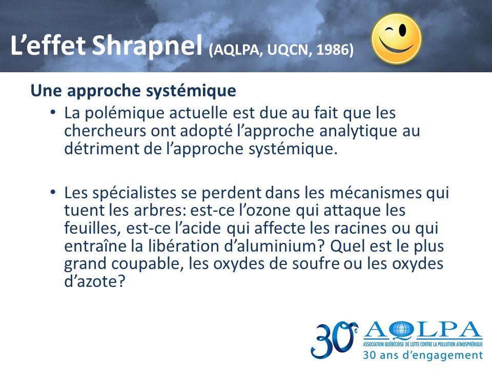 Leffet Shrapnel (AQLPA, UQCN, 1986) Une approche systémique La polémique actuelle est due au fait que les chercheurs ont adopté lapproche analytique a