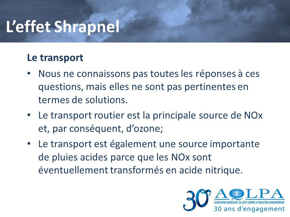 Le transport Nous ne connaissons pas toutes les réponses à ces questions, mais elles ne sont pas pertinentes en termes de solutions. Le transport rout