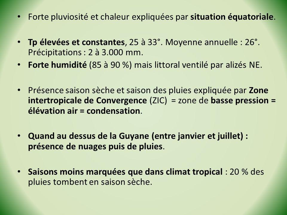 Forte pluviosité et chaleur expliquées par situation équatoriale. Tp élevées et constantes, 25 à 33°. Moyenne annuelle : 26°. Précipitations : 2 à 3.0